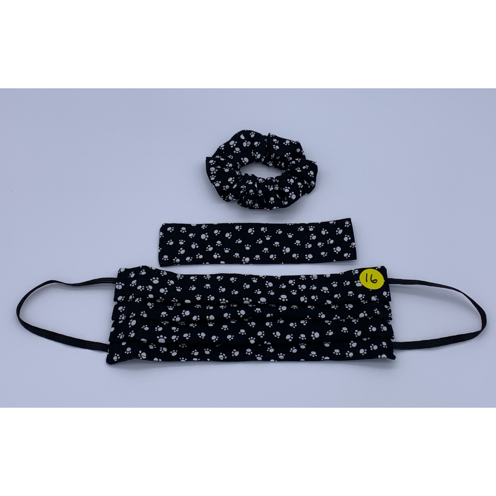 Black with White Paw Prints (Handmade Reversible Face Mask and Hair Scrunchie)