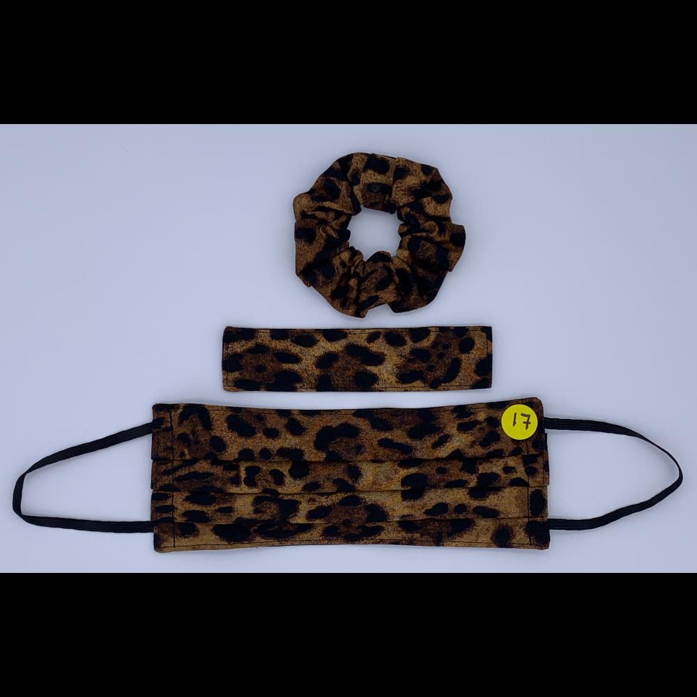 Cheetah Print (Handmade Reversable Face Mask and Hair Scrunchie)