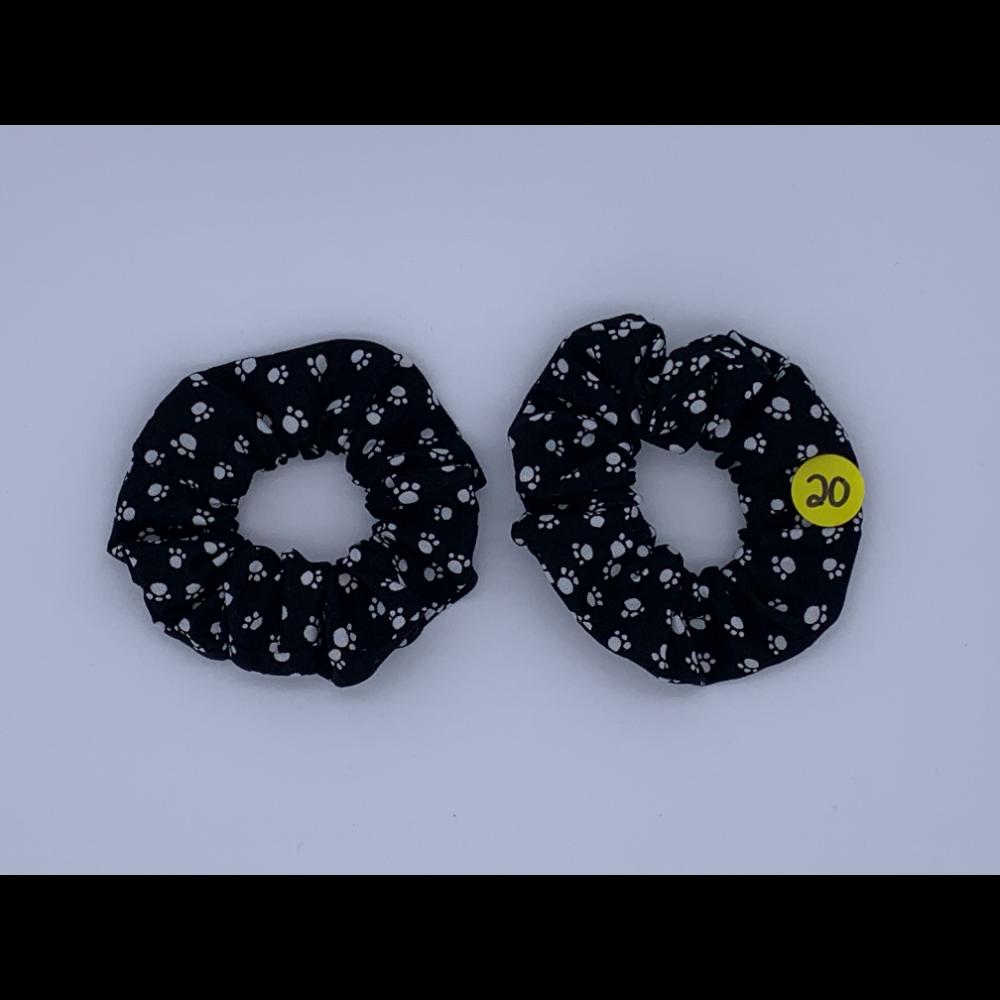 2 BFF Handmade Hair Scrunchies- Black with White Paw Prints