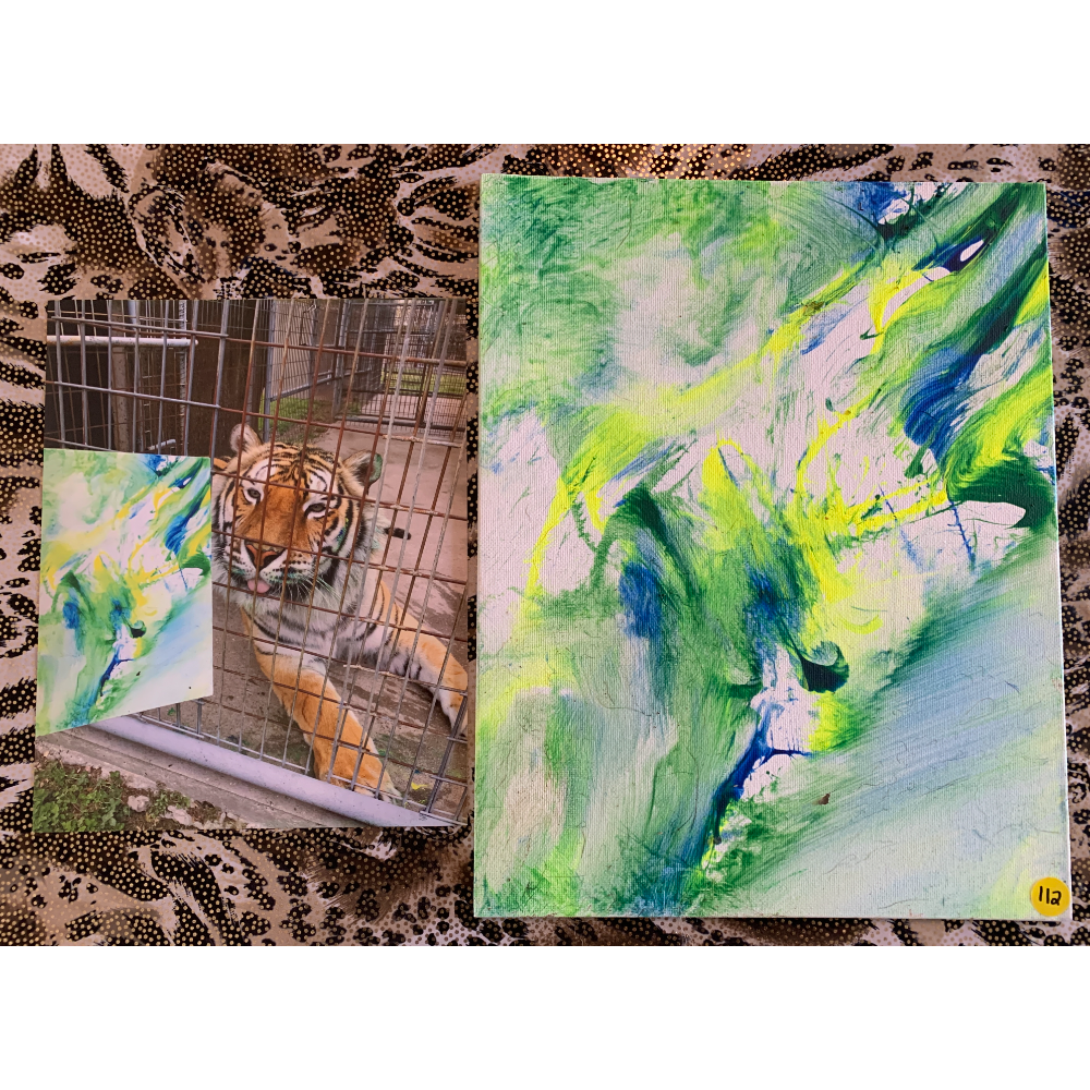 "11"" x 14"" Paw Painting by Poncho. Don't go chasing waterfalls. Includes 1 Photo"