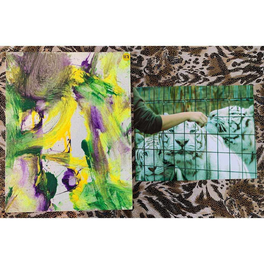 """11"""" x 14"""" Paw Painting by White Tiger Siblings Blackfire, Peyton, and Rocklyn. """"Mardi Gras Madness"""" Includes 2 Photos"""