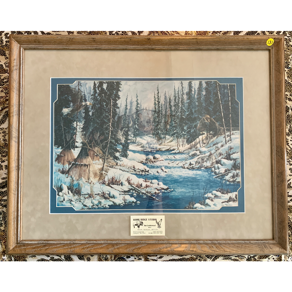 "22"" x 28"" Framed Native American Hidden Wildlife by Ron Leatherwood Artist for the Hawk Ridge Studio in Lexington, OK"