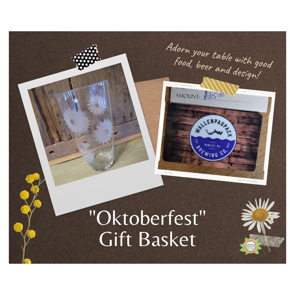 """""""Oktoberfest"""" Gift Basket - Romanian Glass Vase from Twisted Sisters + $25 Wallenpaupack Brewing Co. Gift Certificate"""