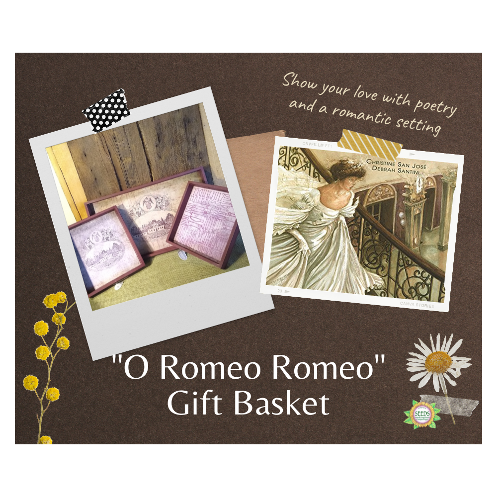 """""""O Romeo Romeo"""" Gift Basket - Set of 3 Plum Wine Trays + a Personalized Poetry Reading"""