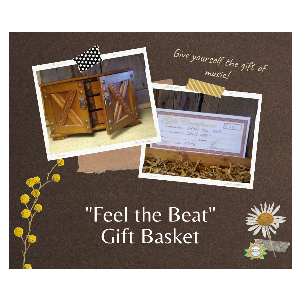 """""""Feel the Beat"""" Gift Basket - Intricate Music Box from RiverRoads Arts & Antiques + $20 Player's Row Music Gift Certificate"""