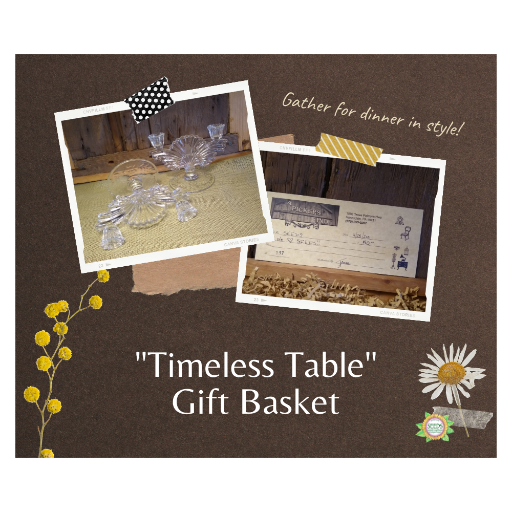 """""""Timeless Table"""" Gift Basket - Decorative Glass Fan Candleholders from Twisted Sisters + a $50 Picker's Find Gift Certificate"""