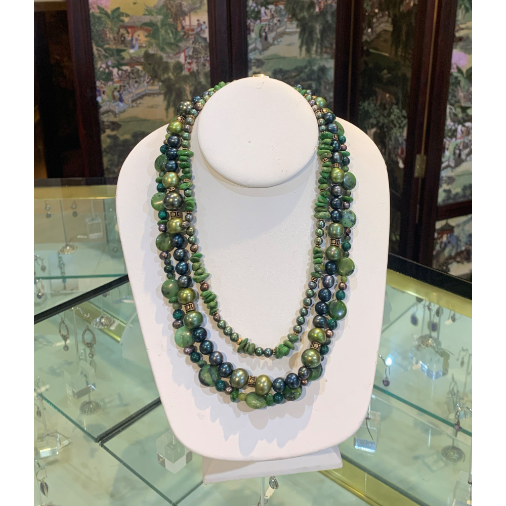 Green Cultured Pearl Necklace