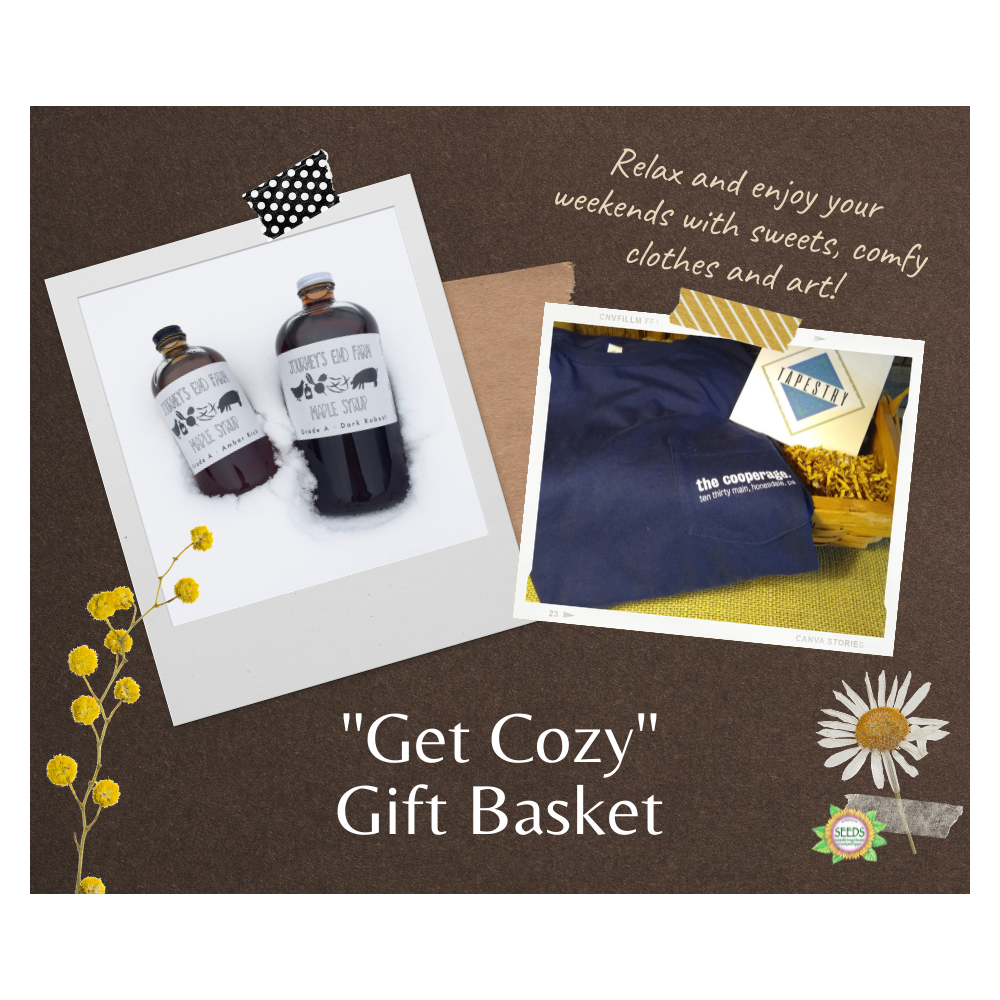"""""""Get Cozy"""" Gift Basket - Tapestry Photo Book, The Cooperage Project T-shirt + Journey's End Dark Robust Syrup Pint"""