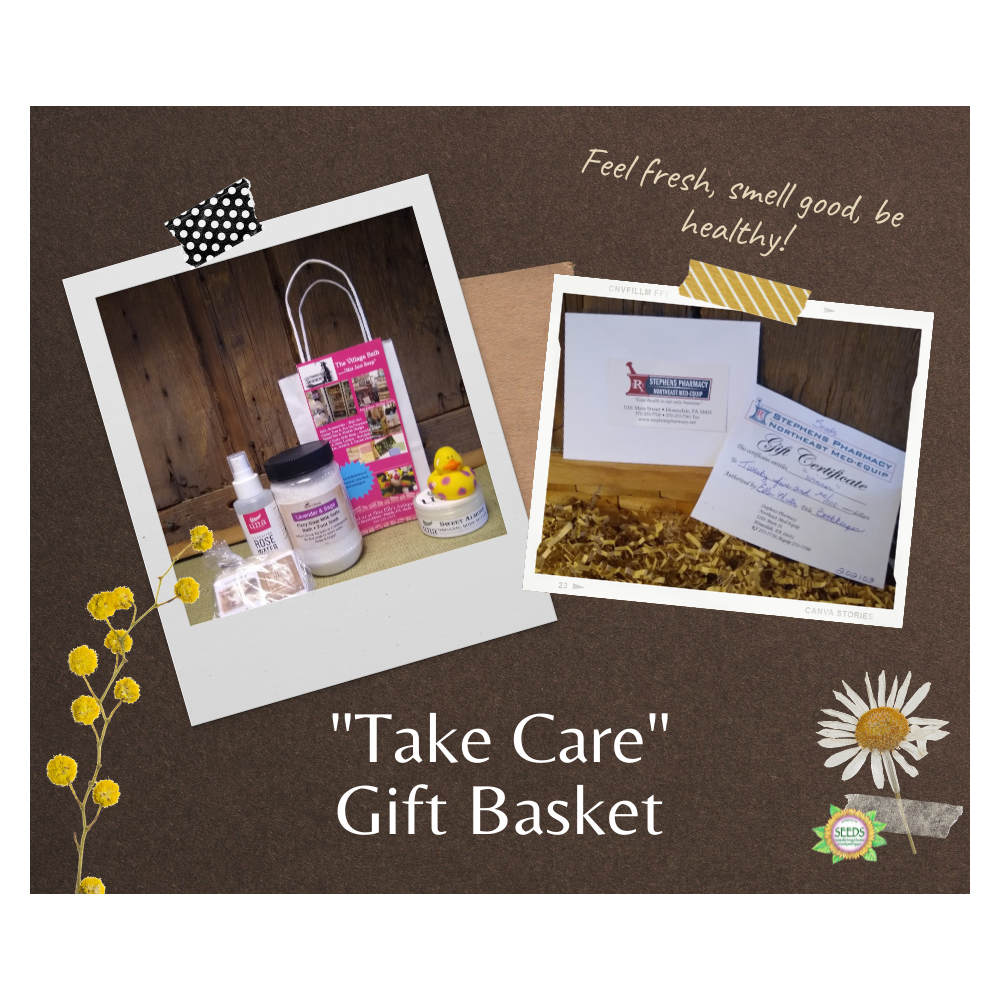 """""""Take Care"""" Gift Basket - The Village Bath Shop Gift Basket and $25 Stephen's Pharmacy Gift Certificate"""