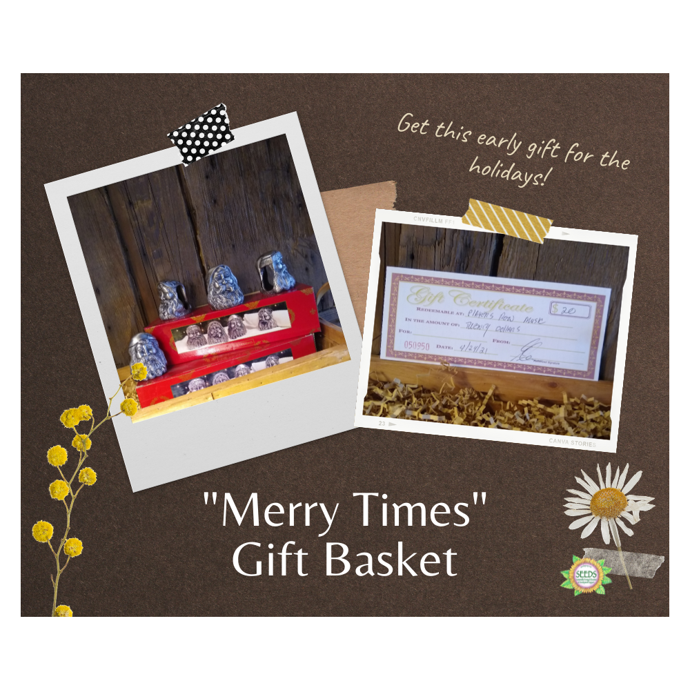 """""""Merry Times"""" Gift Basket - Metal Santa Napkin Rings Set + a $25 Player's Row Music Gift Certificate"""