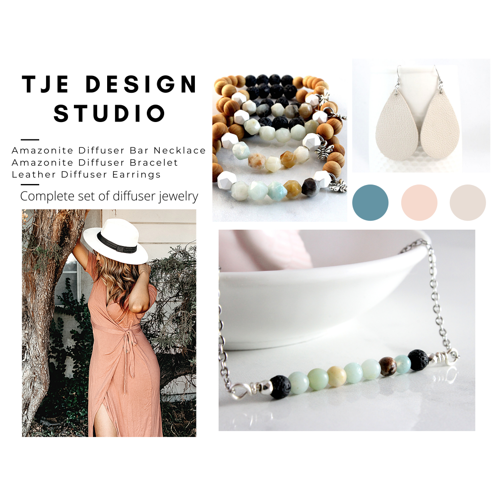 Amazonite Diffuser Jewelry Gift Set- Necklace, Bracelet & Earrings
