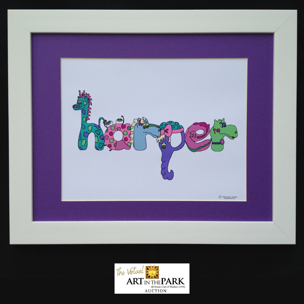 Children's Name Picture in a White Frame