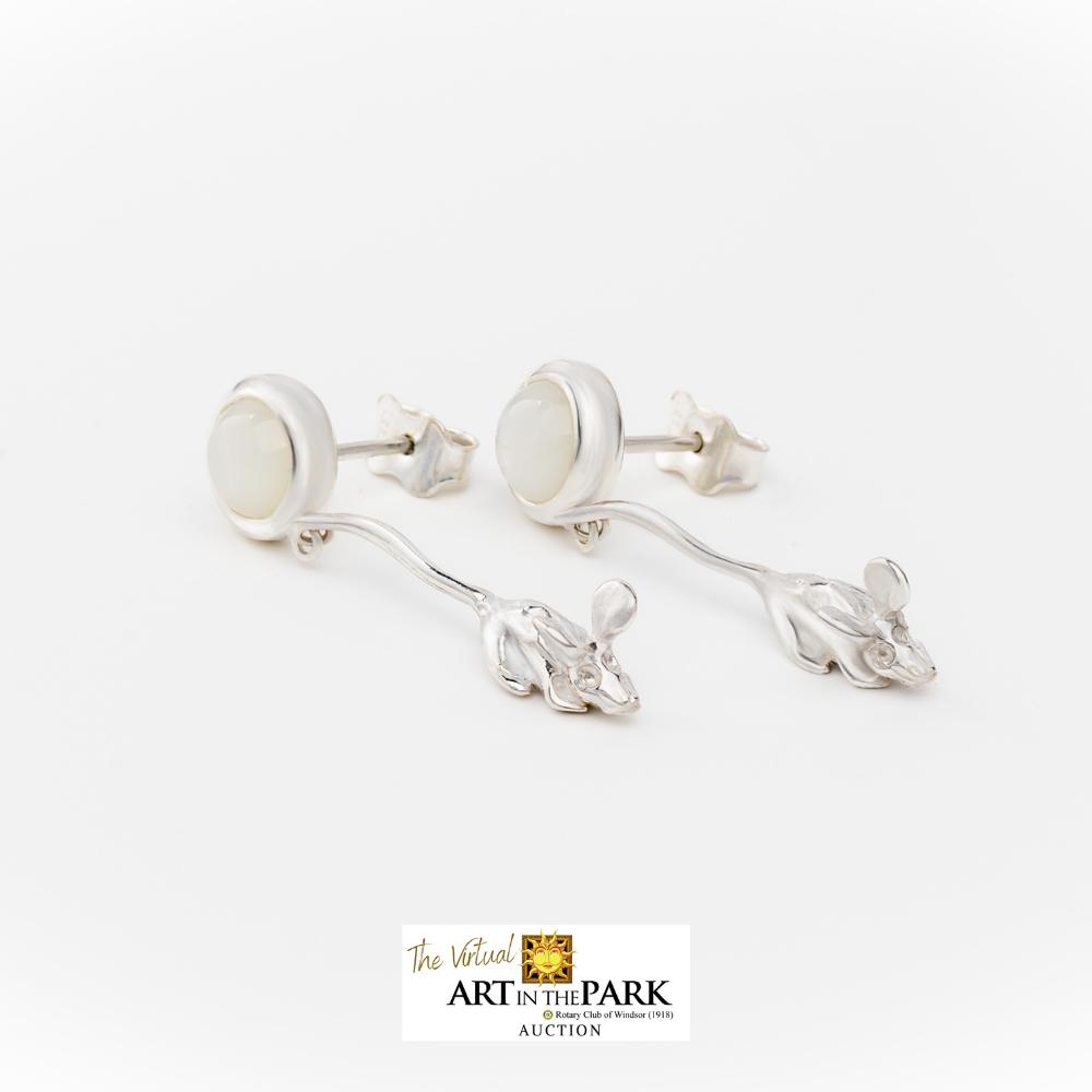 Moonstone and Mice Drop Earrings