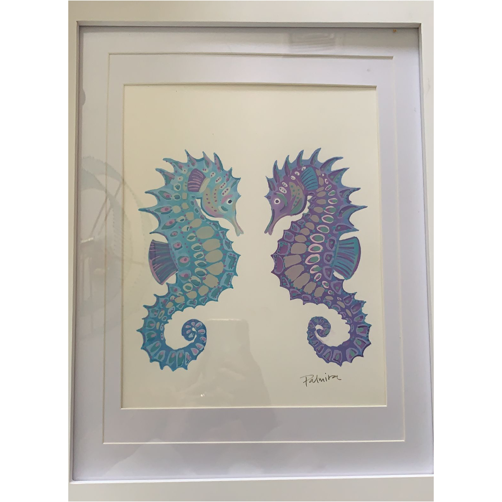 """""""Seahorses"""" by Palmira: Gouache on watercolor paper."""