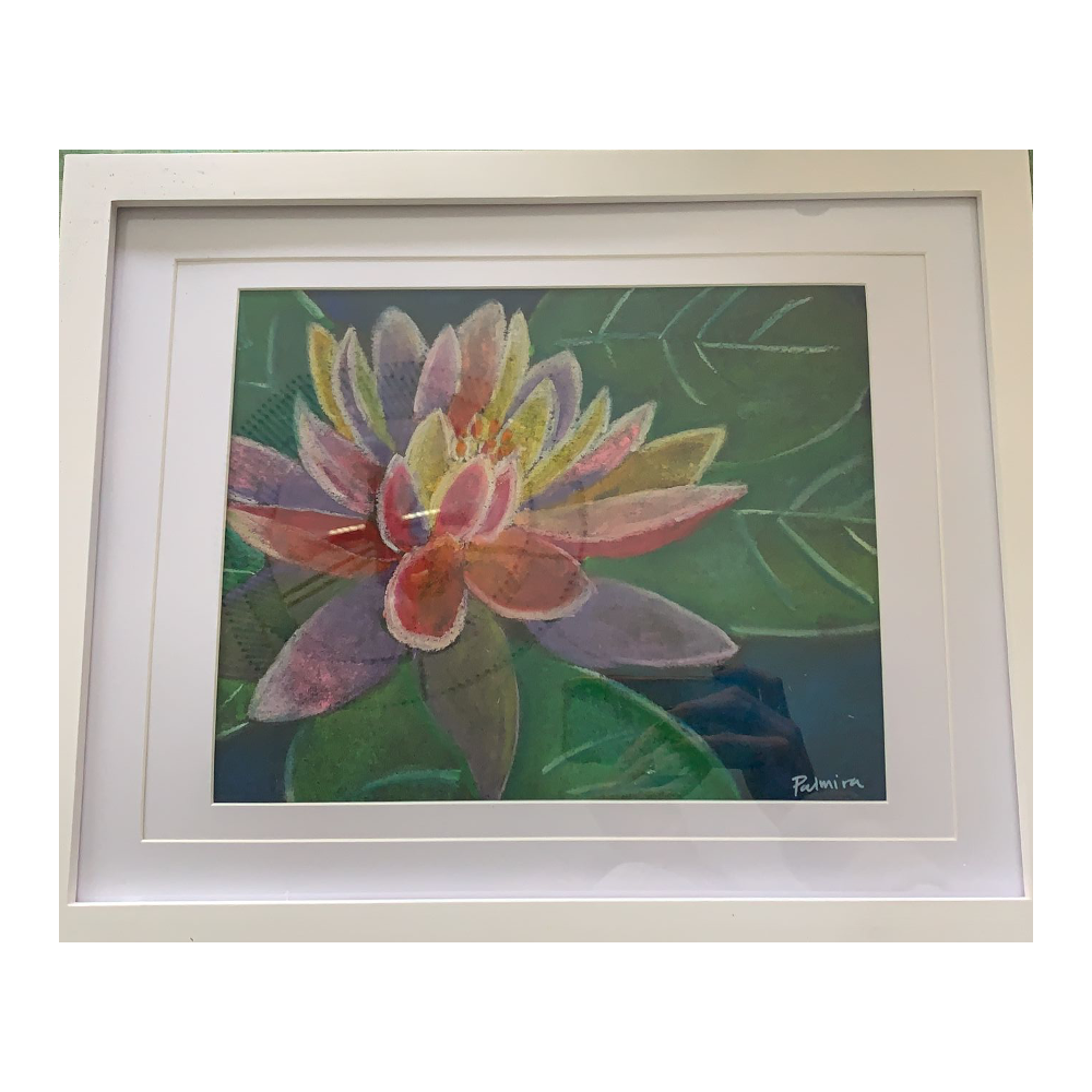"""""""Water lilies"""" by Palmira: Pastel on black mixed media paper"""