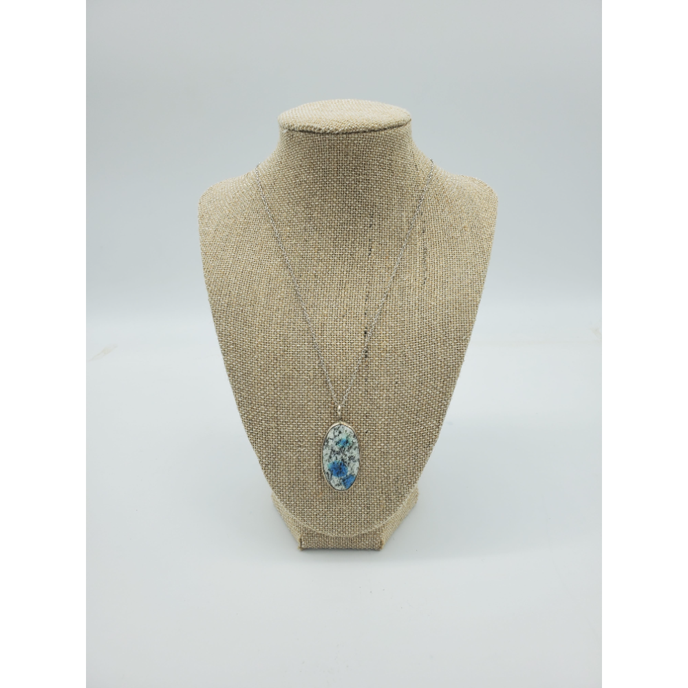 Natural Stone and Sterling Silver Oval Pendant & Sterling Silver Chain