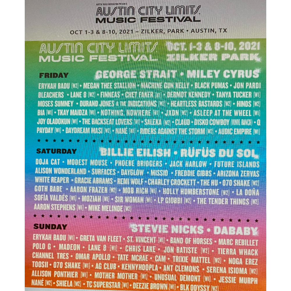 2 VIP 3 Day Passes ACL Music Festival 2nd Weekend October 8, 9 & 10
