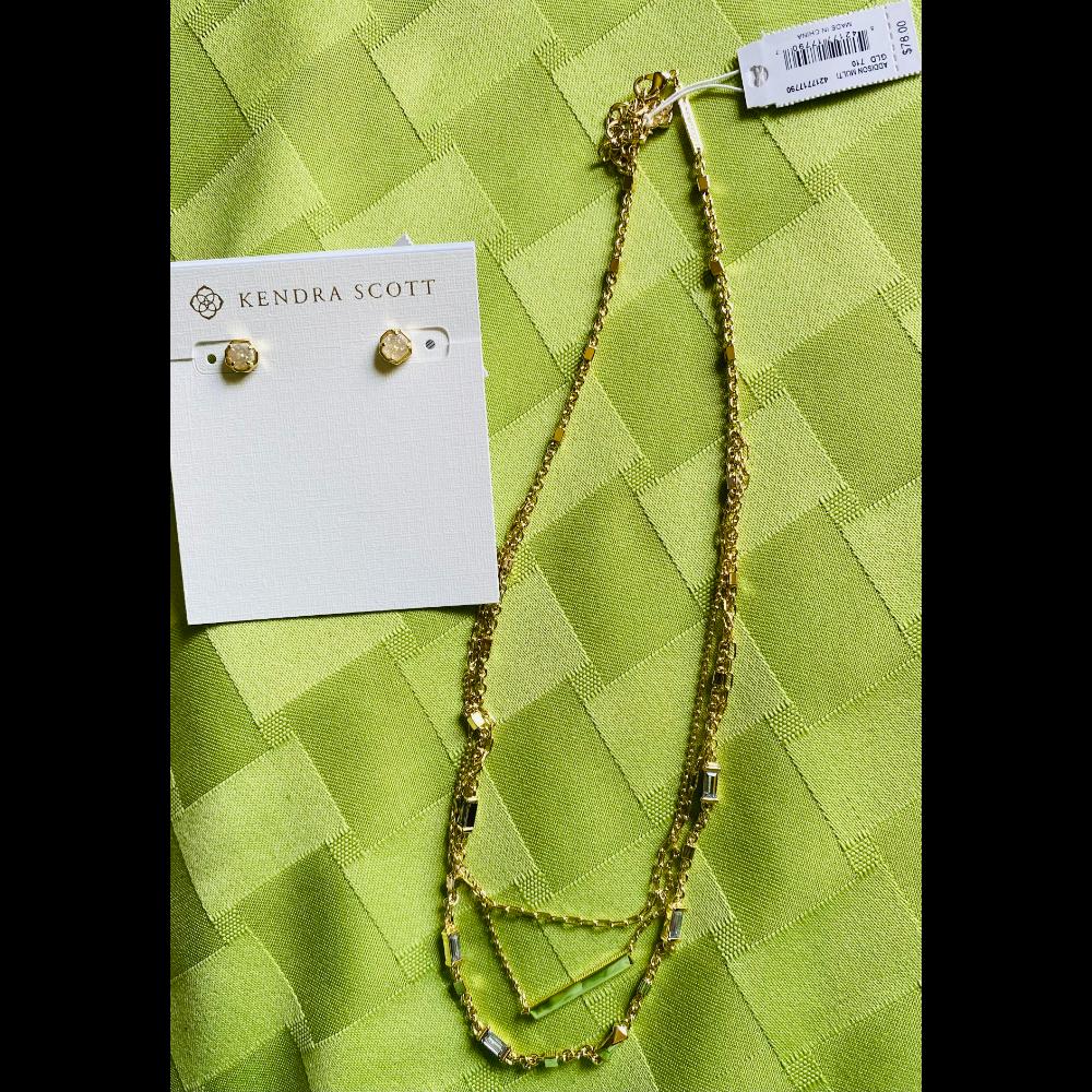Kendra Scott Addison Multi Chain Necklace and Nola Stud Earrings