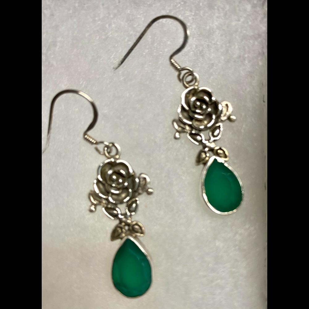 Green Onyx in Sterling Silver Rose Pattern Earrings