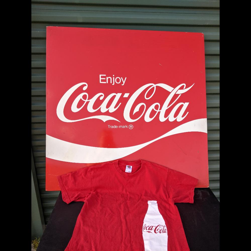 Metal Coca-Cola Sign & T-Shirt