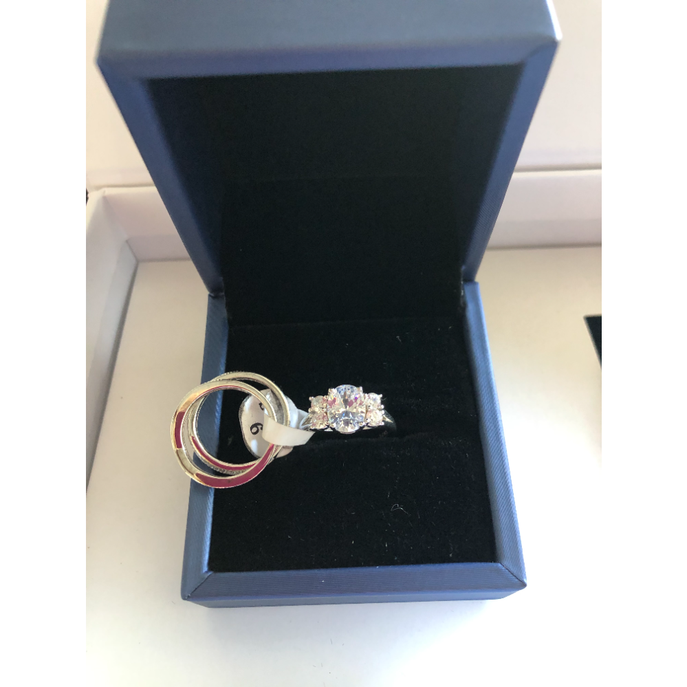 Sterling Silver 3-Piece Ring Set, Size 6