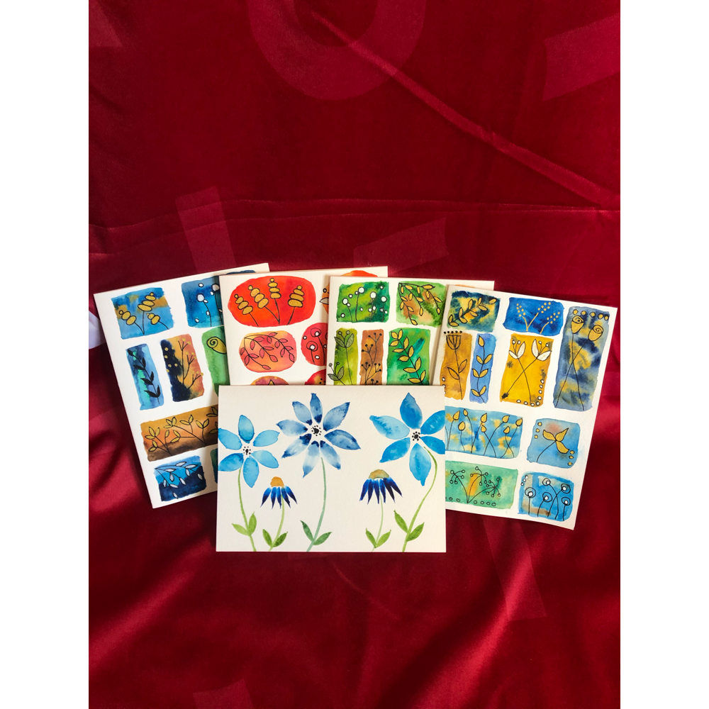 Hand Painted Cards- Set of 5