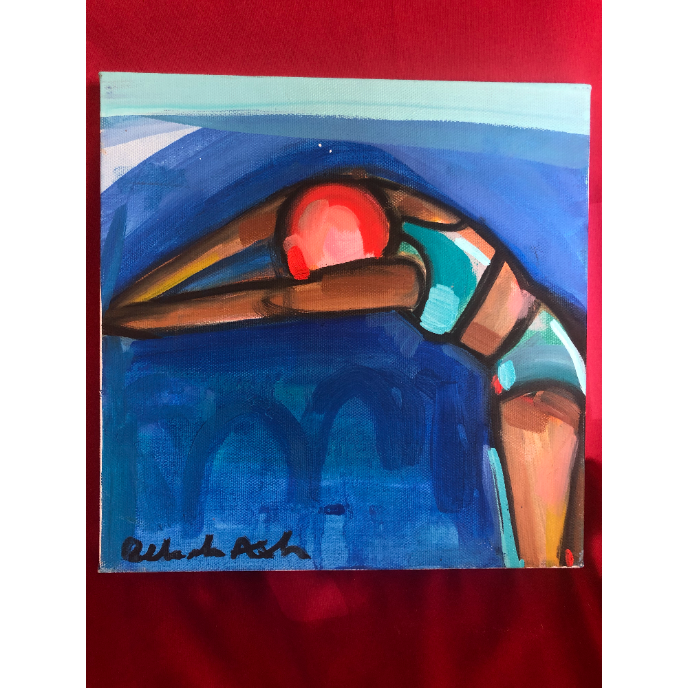 Swimmer in Blue- Painting by Bekah Ash