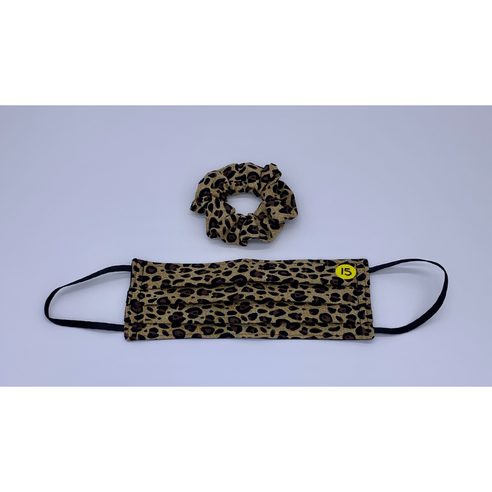 Small Leopard Print Matching Set (Handmade Reversible Face Mask and Hair Scrunchie)