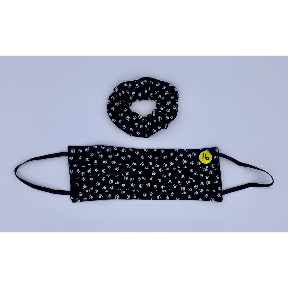 Black with White Paw Prints Matching Set (Handmade Reversible Face Mask and Hair Scrunchie)