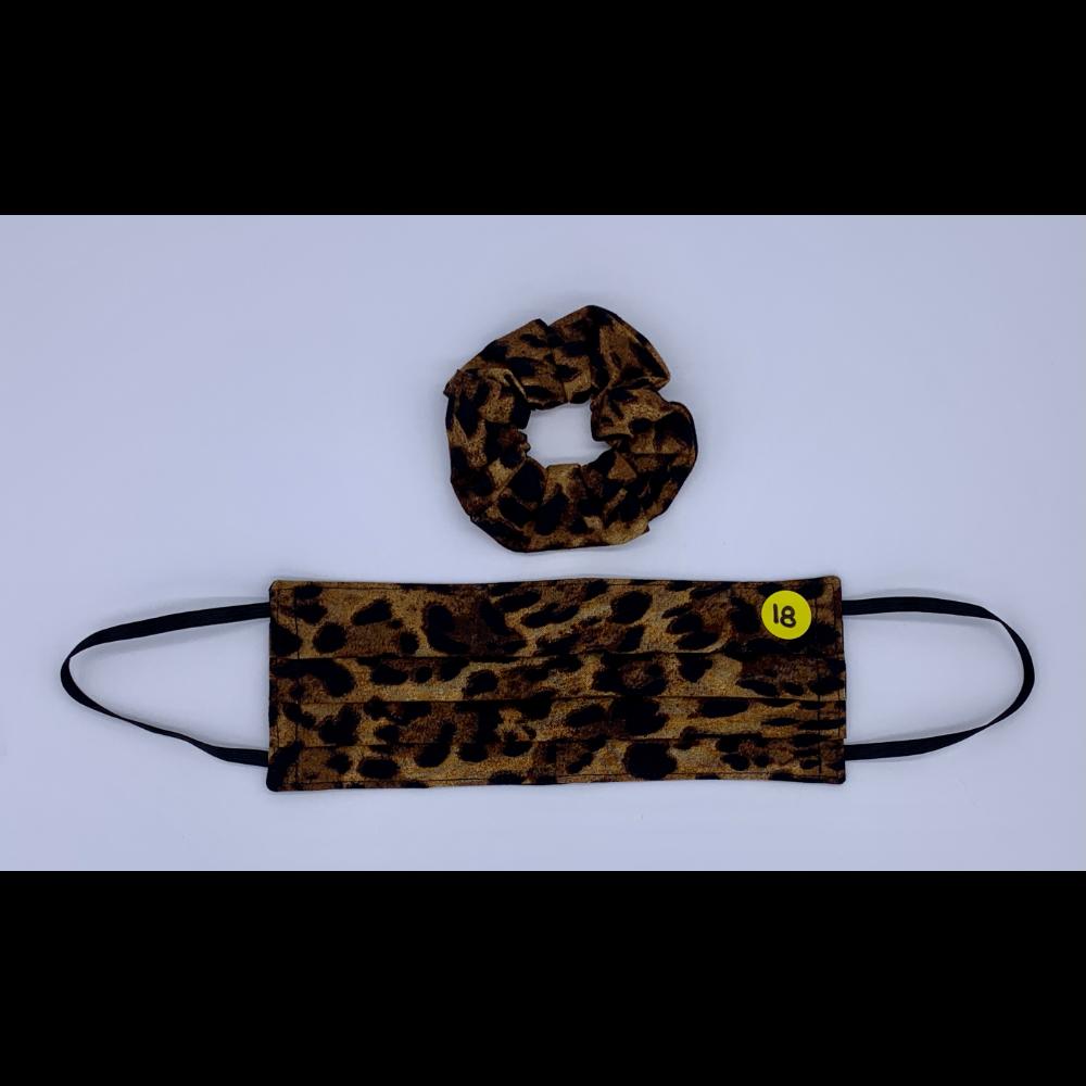 Leopard Print Matching Set (Handmade Reversible Face Mask and Hair Scrunchie)