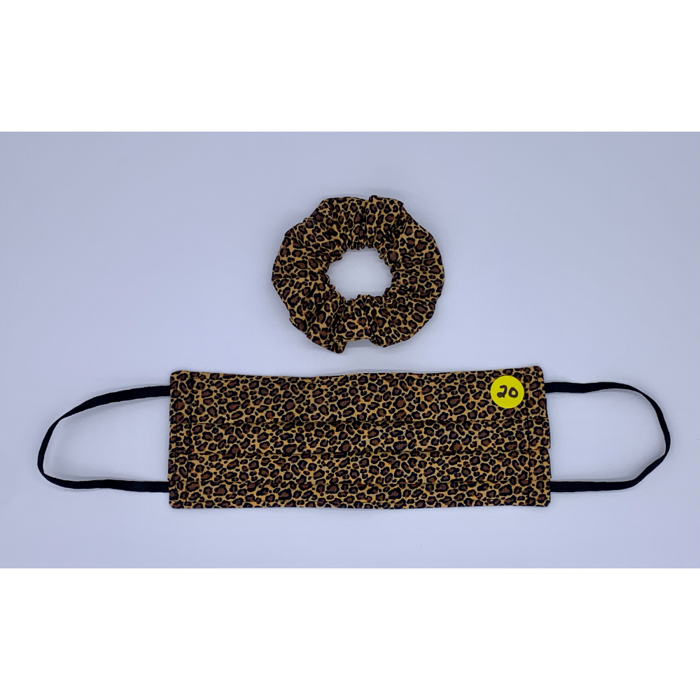 Mini Leopard Print Matching Set (Handmade Reversible Face Mask and Hair Scrunchie)