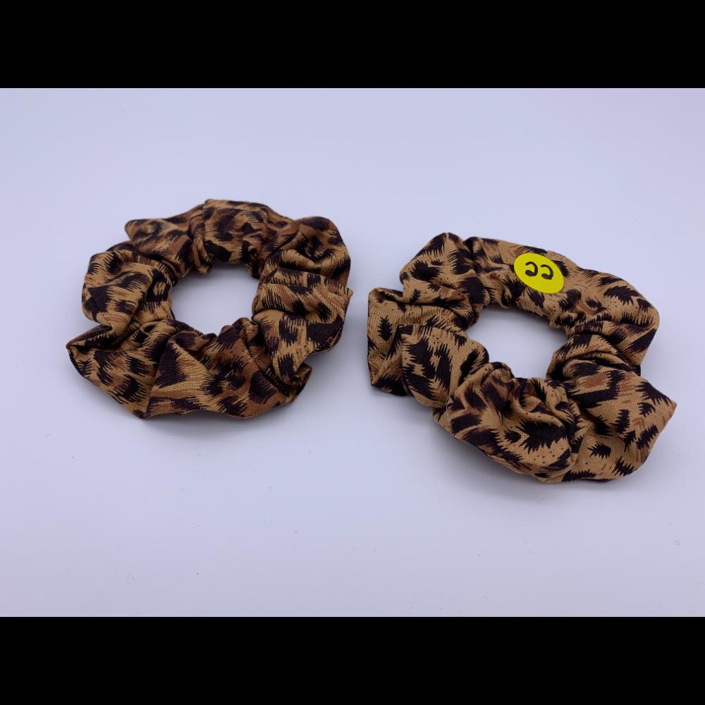 2 BFF Handmade Hair Scrunchies-Cheetah Print