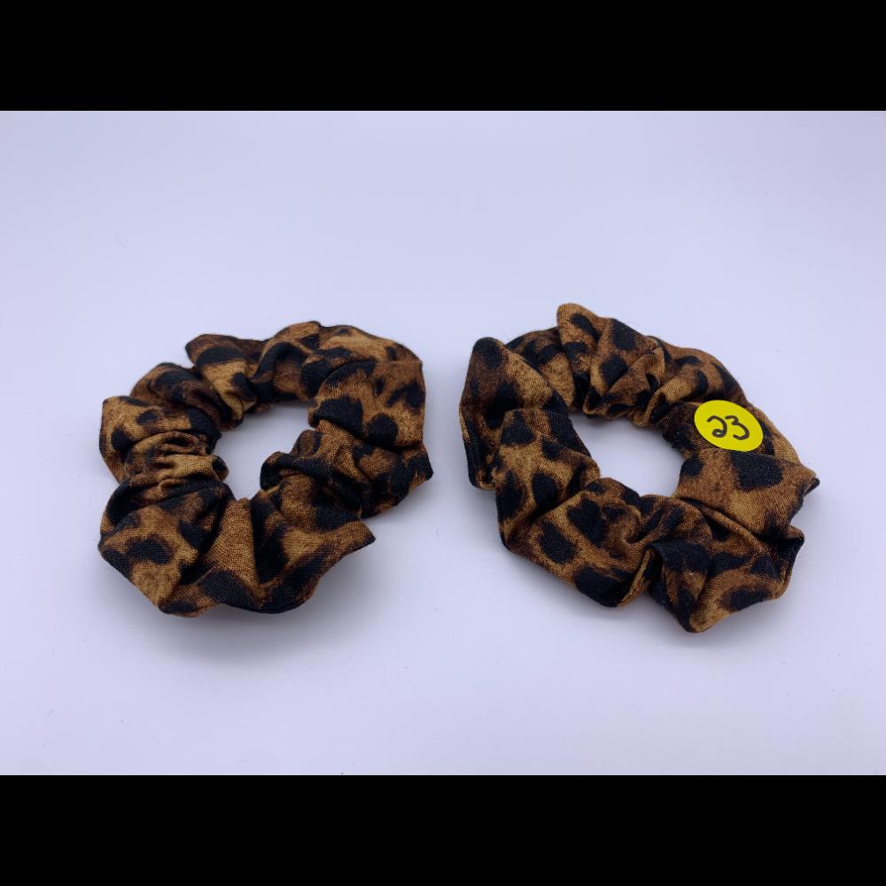 2 BFF Handmade Hair Scrunchies- Leopard Print
