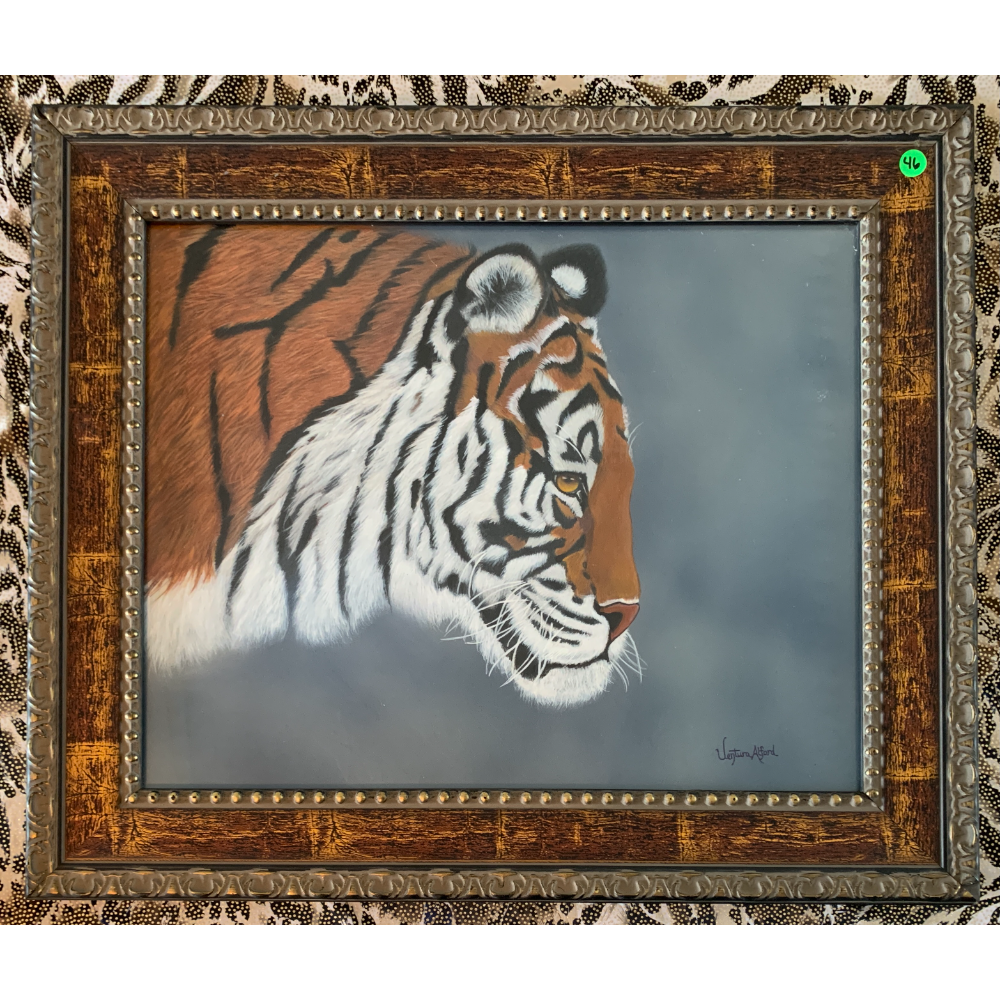 """21"""" x 25"""" Faux Wood Framed Oil Painting of a Tiger by Ventura Alford"""