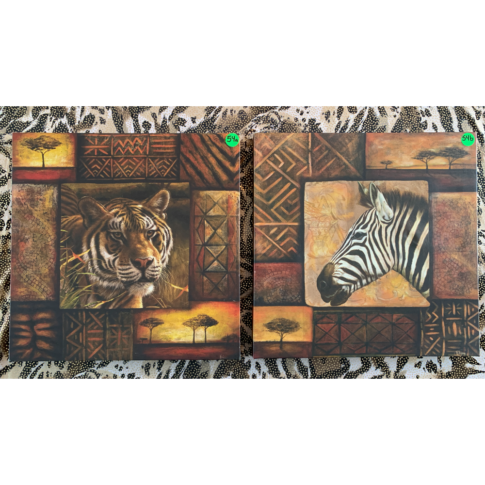 """Set of Two 54a&b (12""""x12"""") Safari Tiger Wall Hanging on Canvas"""
