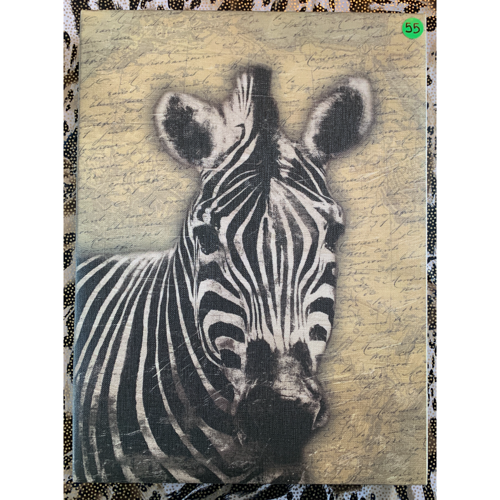 """(15.5""""x11.5"""") Zebra Wall Hanging on Canvas"""