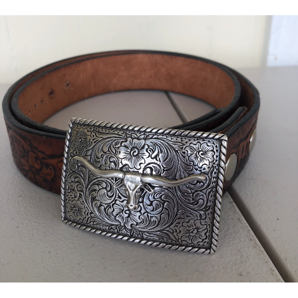 Leather Belt with Steer Buckle