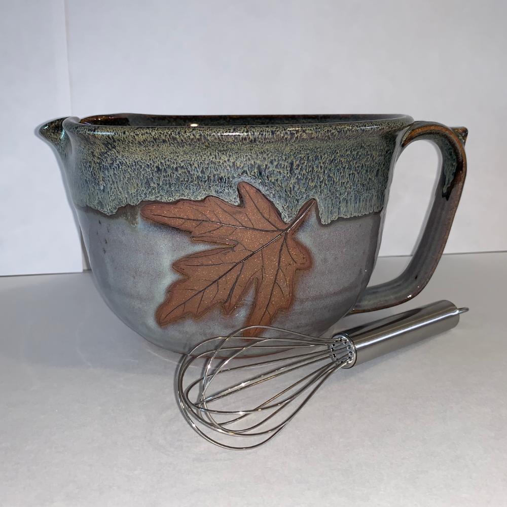 Alewine Pottery Signature Maple Leaf Mixing Bowl w/ Whisk