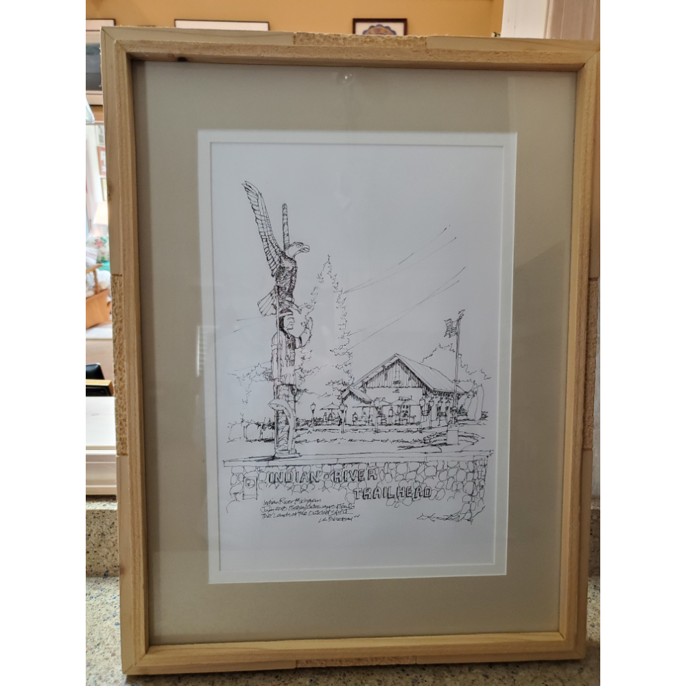 Original Pen and Ink Indian River Historic Waterways and Trails drawing