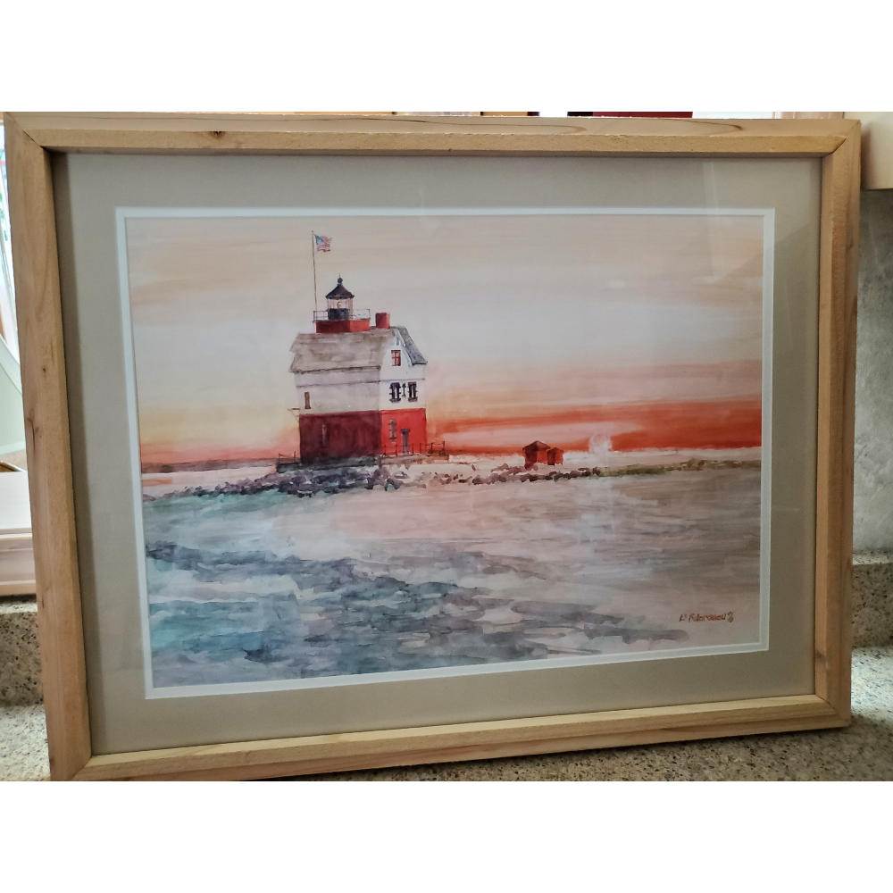 Original watercolor painting of Round Island Lighthouse