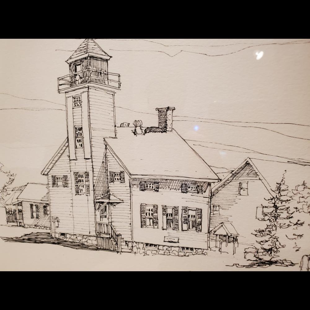 Original Pen and Ink of the Cheboygan Riverfront Range Lighthouse