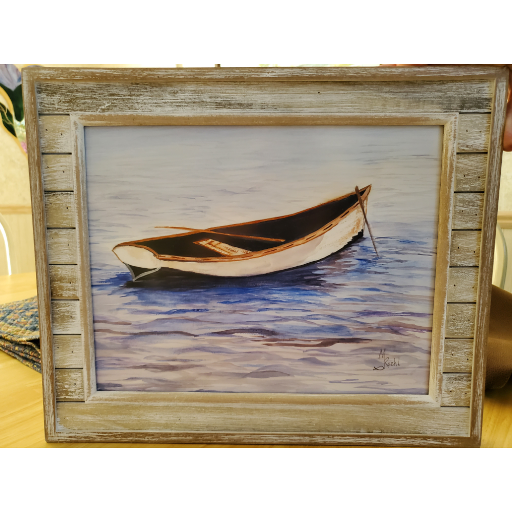Boat on the water print by Margi Roehl
