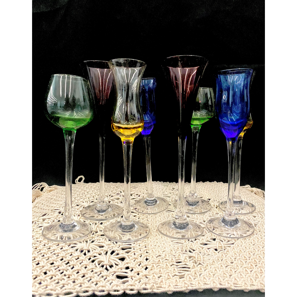 """Lenox """"Gems"""" Stemmed Crystal Cordials (set of 8) and Fringed Macrame Place Settings (Set of 6)"""