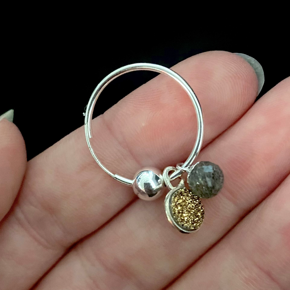 Silver Small Hoop Earrings with Interchangeable Drops