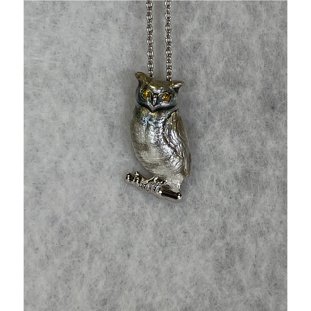 Sterling Silver Gray Owl Necklace