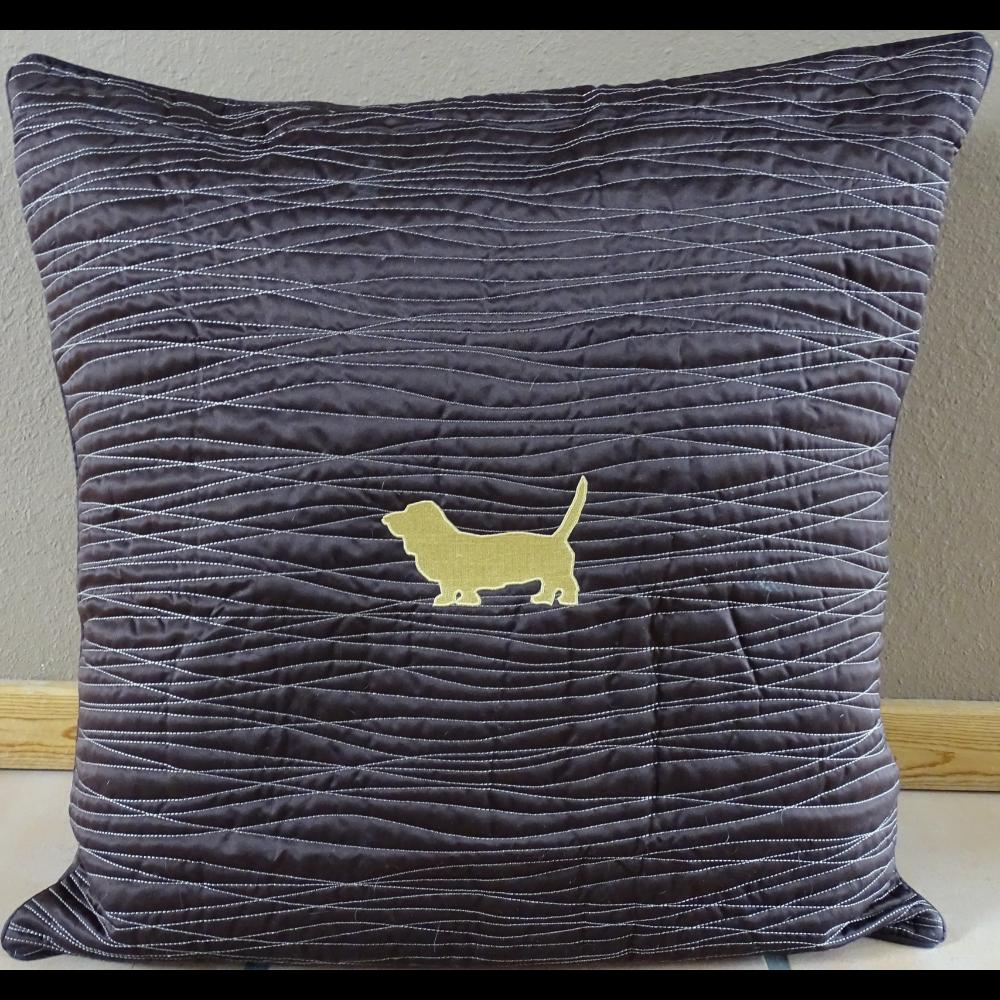 Brown Satin Basset Pillow