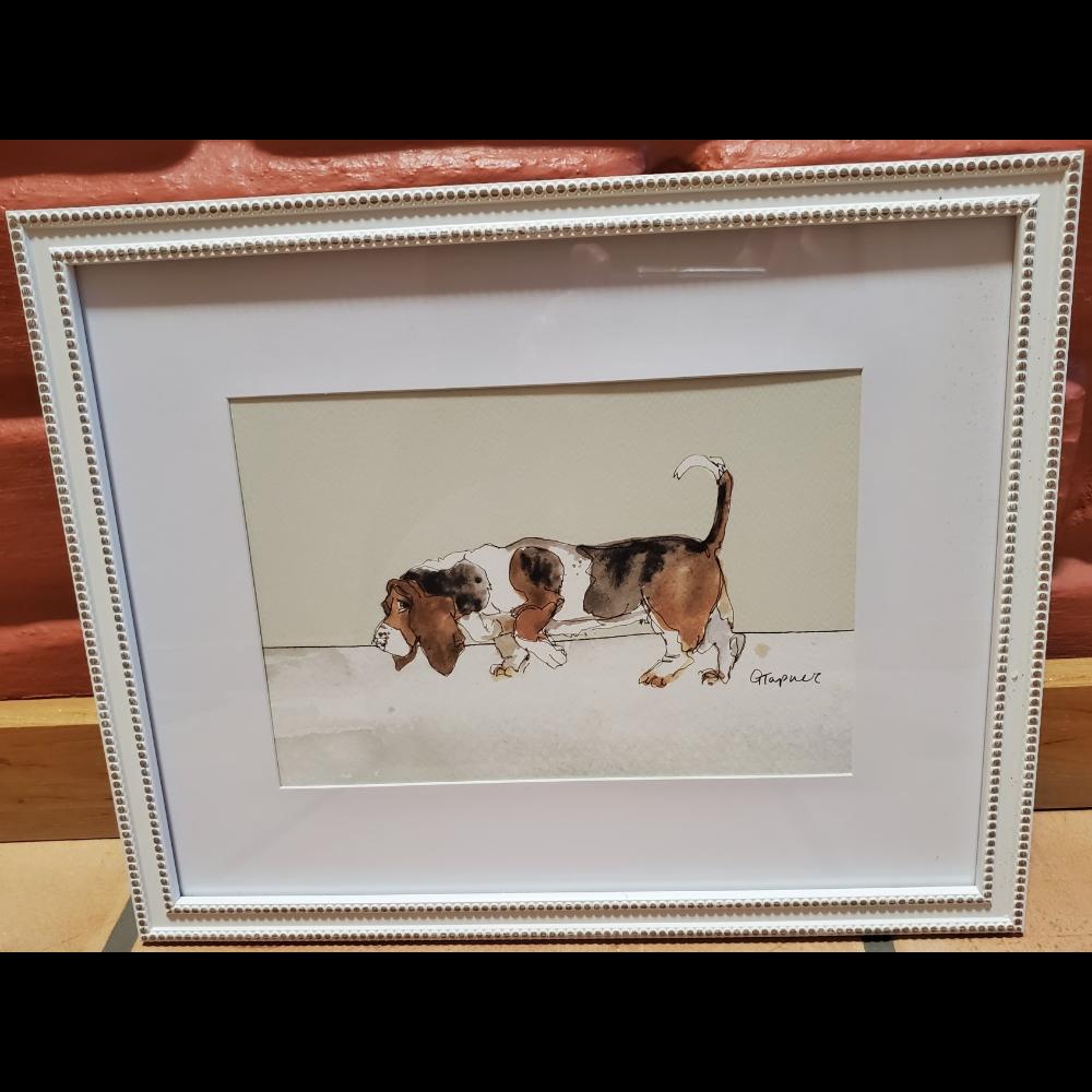 Framed White Basset Print