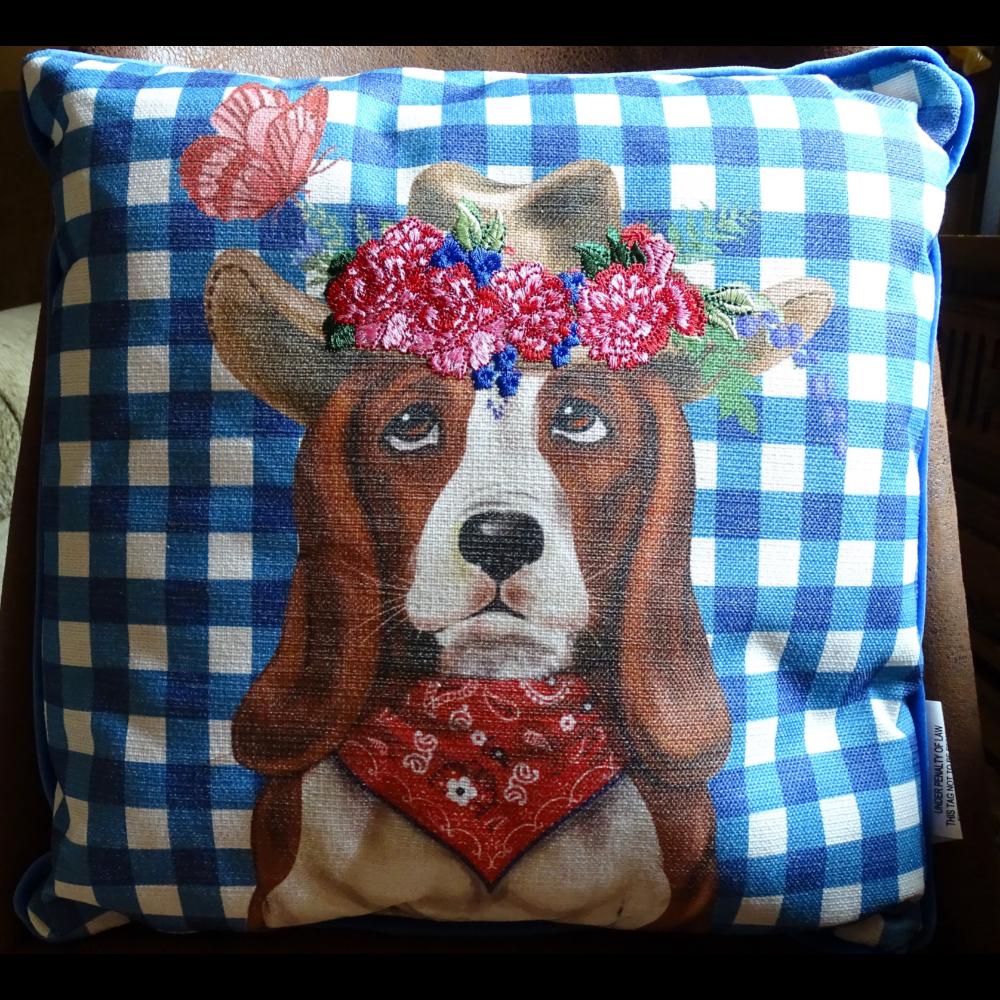 Basset Cowboy Pillow