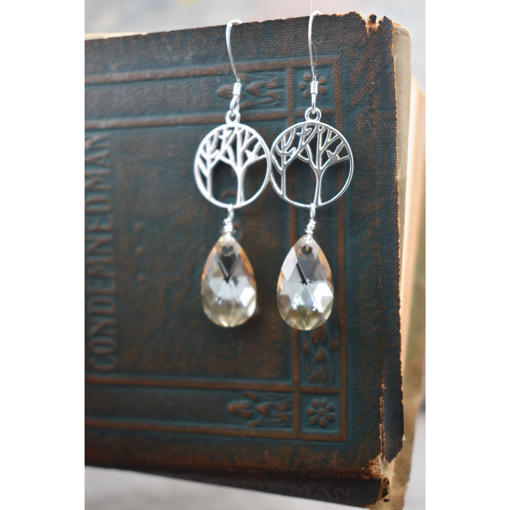 Tree of Life Earrings w/ Crystral Drops