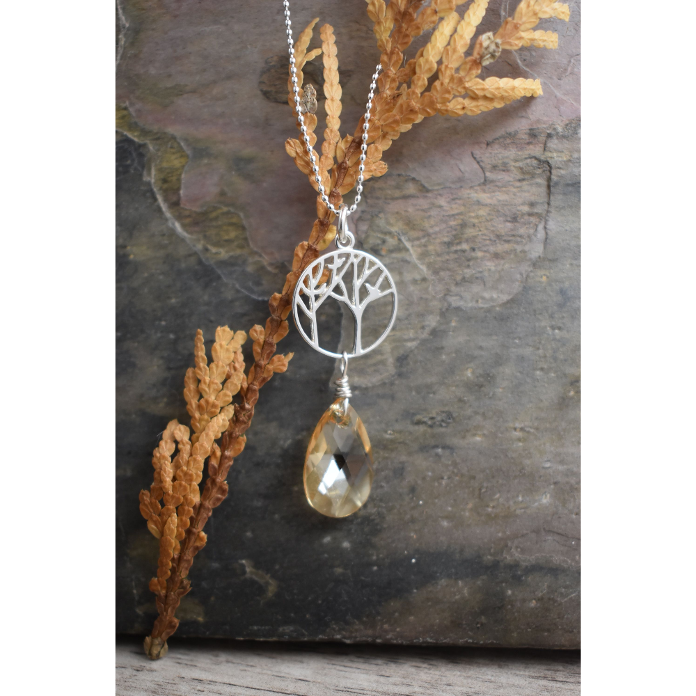 Tree of Life Necklace w/ Crystal Drop